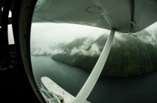 Flying up Whale Bay before we fly through the pass to Gut Bay.